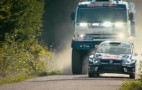 WRC VW Polo faces off against a KamAZ racing truck