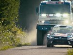 KAMAZ Dakar Race Truck runs against a WRC VW Polo