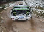 Ken Block launches during practice at the M-Sport proving grounds