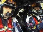 Kimi Raikkonen and co-driver in car at Rally Spain