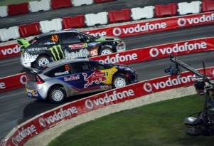 Kimi Raikkonen and Ken Block side by side at the Rally Portugal SSS.