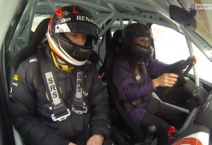 Kimi Raikkonen instructs Natalie Pinkham on ice driving technique