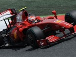 Kimi Raikonnen's Ferrari F60 F1 car on track in Spain