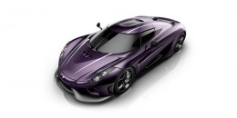 Koenigsegg Regera rendered with a special purple carbon finsih