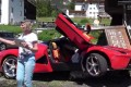 LaFerrari somehow winds up on a large rock in front of a restaurante