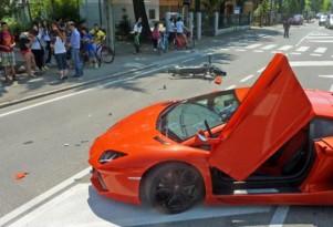 Lamborghini Aventador LP 700-4 that crashed into a motorbike - Image courtesy Romagna Noi