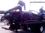 Lamborghini Aventador LP 700-4 with damage from blown tire