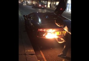 Lamborghini Aventador On Fire