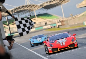 Lamborghini Blancpain Super Trofeo race at Malaysias Sepang International Circuit