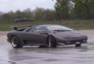 Lamborghini Diablo owner learning how to drift his car