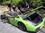 Lamborghini Gallardo burnt to a crisp in Malaysia. Photo by The Star Online