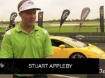 Lamborghini Gallardo races golf ball hit by Stuart Appleby