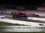 Lamborghini Gallardo Super Trofeo Stradale takes on Porsche 911 Turbo at the drag strip