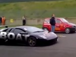 Lamborghini Murcielago vs turbo Fiat 500 drag race