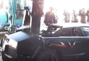 Lamborghini Murciélago destroyed by Taiwanese authorities