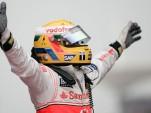 Lewis Hamilton celebrates a win