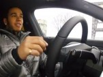 Lewis Hamilton tests the 2014 Mercedes-Benz CLA Class
