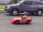 Lightning McQueen Electric Toy Car + Speed Shop Dad = Kid Heaven