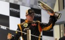 Lotus Kimi Rikknen after winning the 2012 Formula One Abu Dhabi Grand Prix
