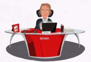 Luca di Montezemolo as a cartoon character