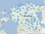 Map of electric-car DC quick-charging station locations in Estonia, Feb 2013
