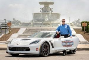 Mark Reuss and the Chevrolet Corvette Z06 pace car for the 2015 IndyCar Detroit Grand Prix