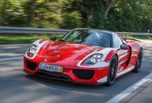 Mark Webber takes delivery of a Porsche 918 Spyder