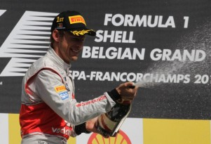 McLaren's Jenson Button afting winning the 2012 Formula 1 Belgian Grand Prix
