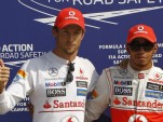 McLaren's Jenson Button and Lewis Hamilton at the 2012 Formula 1 Italian Grand Prix