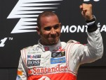 McLaren's Lewis Hamilton on the podium at the 2012 Formula 1 Canadian Grand Prix