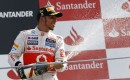 McLaren's Lewis Hamilton on the podium at the 2012 Formula 1 Italian Grand Prix