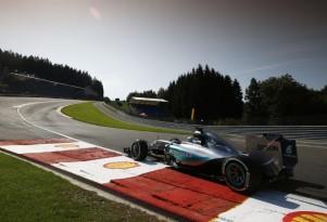 Mercedes AMG's Lewis Hamilton at the 2015 Formula One Belgian Grand Prix