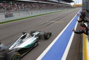 Mercedes AMG's Lewis Hamilton at the 2015 Formula One Russian Grand Prix