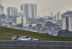 Mercedes AMG's Nico Rosberg at the 2015 Formula One Brazilian Grand Prix