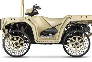 Military vehicle equipped with Polaris Non-Pneumatic Tire