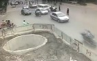 Man Crashes Multiple Times Before Falling Down A Hole: Video