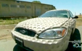 Video: Mythbusters Test Golf Ball Theory On Ford Taurus