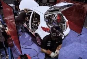 New Mazda2 built into B-Spec race car on the show floor at PRI