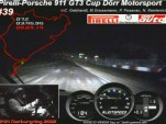 Niclas Kentenich drives the Dörr Motorsport Porsche 911 GT3 Cup around a dark Nürburgring