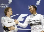Nico Rosberg and Lewis Hamilton at the 2014 Formula One Bahrain Grand Prix