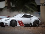 Nissan 370Z drift action at abandoned Hawthorne Plaza shopping mall - Image via Hoonigan