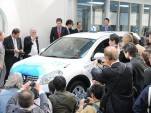 Nissan electric taxi leaving Better Place battery switching station, Tokyo, April 2010
