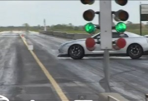 Nissan GT-R comes close to hitting the wall three times during drag race