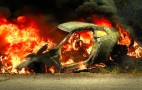 Nissan GT-R Bursts Into Flames After Crashing Into Volkswagen Golf