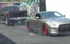 How do you do a 4-wheel burnout in an 800-hp GT-R? Chain it to a truck