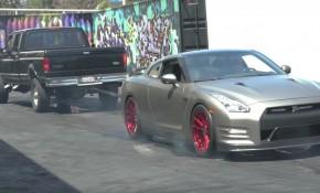 Nissan GT-R four wheel burnout
