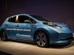 Nissan Leaf 'Advanced R&D Electric Vehicle' shown at company annual meeting, Yokohama, Jun 2015