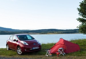 Nissan Leaf electric car on scenic coastal, rural drives in Europe: video