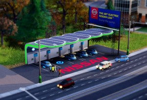 Nissan Leaf, Solar-Canopy Charging Station In New SIMS Game