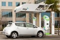 Nissan Leaf electric car with eVgo quick charging station. [courtesy eVgo]